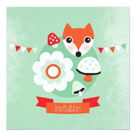 Fox themed invitation